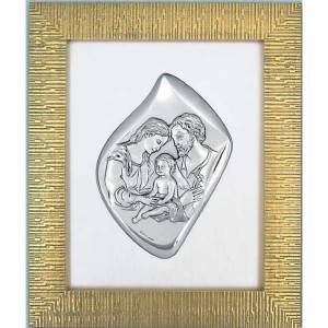 Silver bas-relief Holy Family, golden frame s1