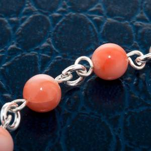 Silver bracelet and coral beads s2