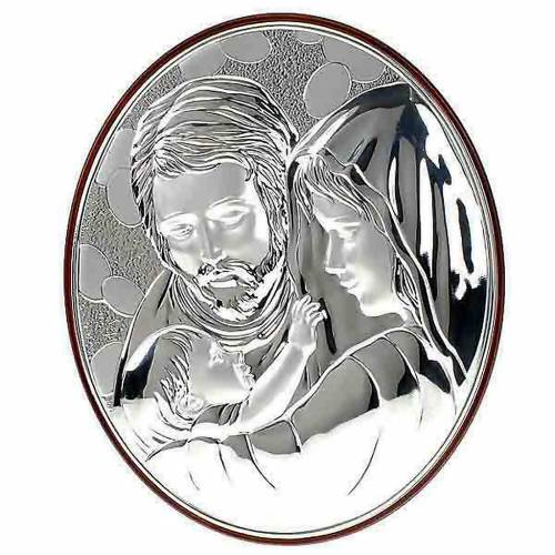 Silver oval Bas Relief Holy Family s1