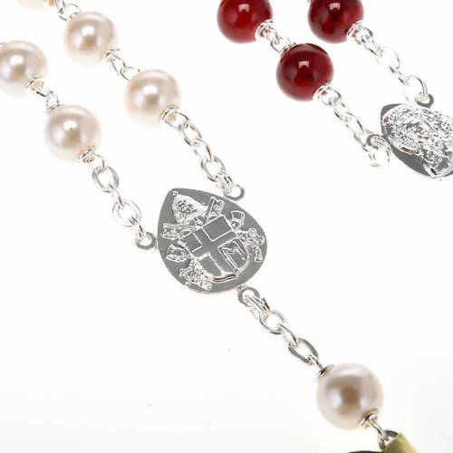 Silver plated and glass rosary s9