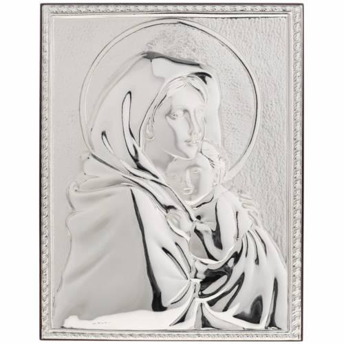 Silver rectangular Bas Relief Madonna del Ferruzzi s1