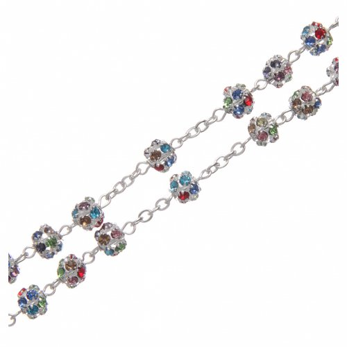 Silver rosary with strass grains multicoloured 6 mm s3