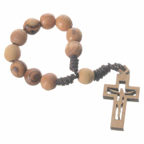 Single decade rosary beads in Holy Land olive wood, Resurrected s1