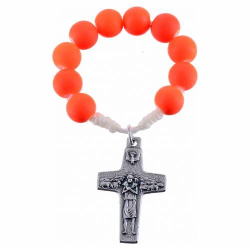 Single decade rosary beads in orange fimo, Pope Francis s1