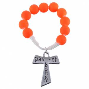 Single decade rosaries: Single decade rosary beads in orange fimo, with Tau