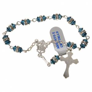 Single decade rosaries: Single-decade rosary in 800 silver and blue crystal