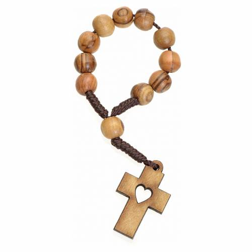 Single decade rosary in Holy Land olive wood, cross and heart s1