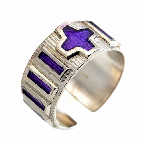 Single decade rosary ring  silver and violet enamel s1