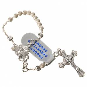 Single decade rosaries: Single-decade rosary with moving grains, 800 silver 3mm