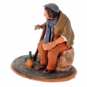 Krippe aus Terrakotta: Sitzende Bauer Terrakotta 18cm
