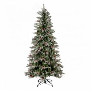 Artificial Christmas trees: Slim Christmas tree 180 cm, flocked Dunhill with pine cones and berries