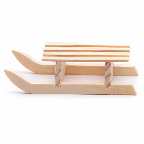 Slitta 3x10x4,5 cm legno per presepe s1