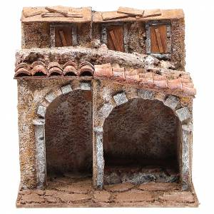 Small house with rustic hut Nativity 20x25x15cm s1
