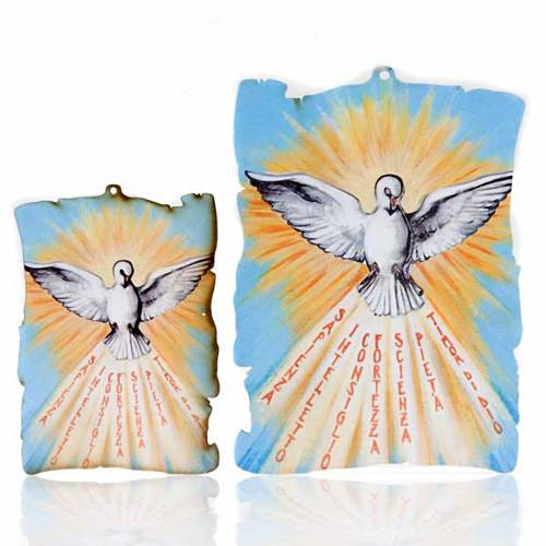 Small picture on wood Holy Spirit yellow rays parchment s1