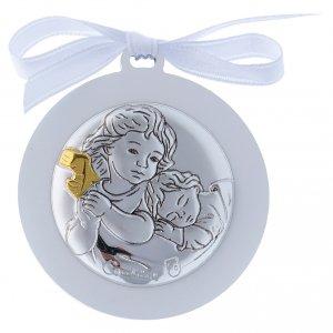 Sopraculla Angeli in bilaminato nastro bianco finiture oro 4 cm s1