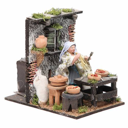 Spaghetti seller animated figurine for Neapolitan Nativity, 10cm s3