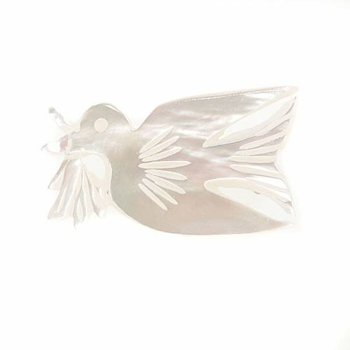 Spilla madreperla colomba con rametto s1