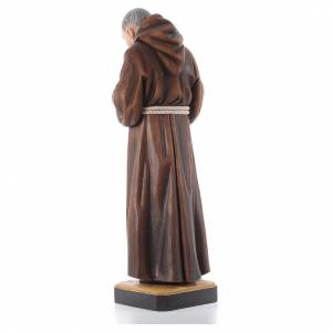 St Father Pio of Pietralcina wooden statue painted s3