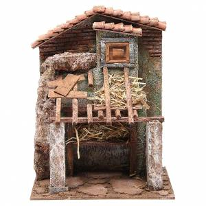 Stable with house for nativity 30x24x18cm s1