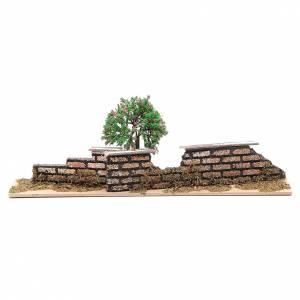 Ponte presepe, ruscelli, staccionate: Staccionata in legno con albero di dimensioni 10x30x5 cm