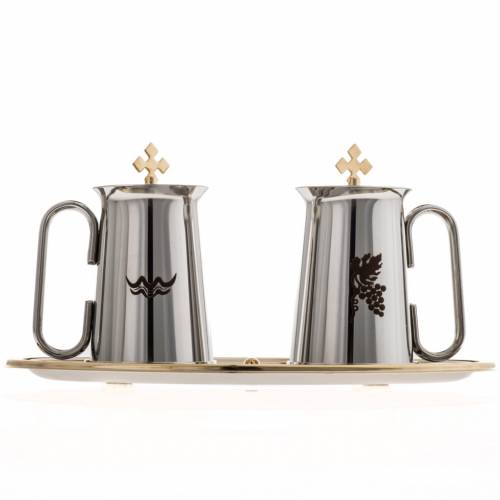 Stainless steel cruet set, water and grapes symbols s2