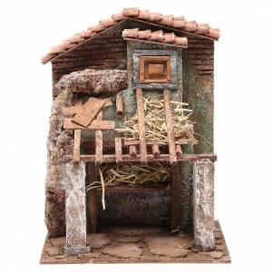 Capanne Presepe e Grotte: Stalla presepe con casa 30x24x18 cm