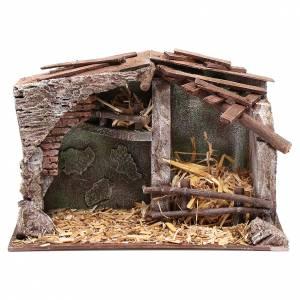 Capanne Presepe e Grotte: Stalla presepe con mangiatoia e fienile 18,5x29x14,5 cm