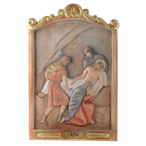 Stations of the Cross wooden relief, painted s14