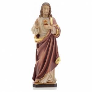 Statue in legno dipinto: Statua legno Sacro Cuore di Gesù dipinta Val Gardena