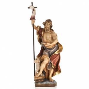 Statue in legno dipinto: Statua legno San Giovanni Battista dipinta Val Gardena