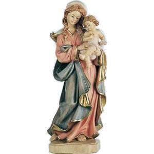 Statua Madonna con bambino stile barocco legno dipinto s1