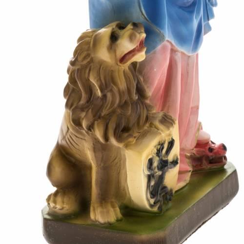 Statua Madonna del rosario con leone 30 cm gesso s3