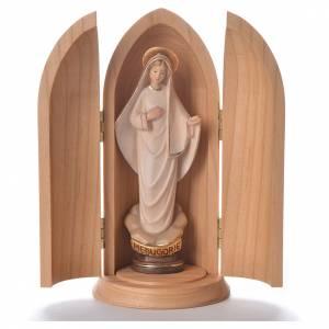 Statue in legno dipinto: Statua Madonna Medjugorje stilizzata in nicchia legno