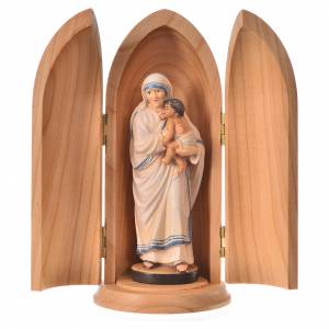 Statue in legno dipinto: Statua Madre Teresa di Calcutta in nicchia legno
