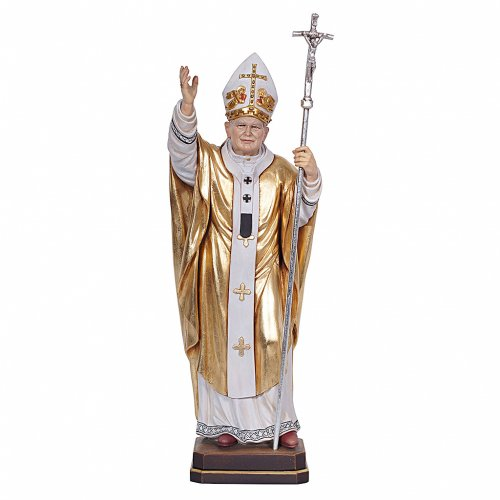 Papa Giovanni Paolo II con mitria dipinto manto oro legno Valgardena s1