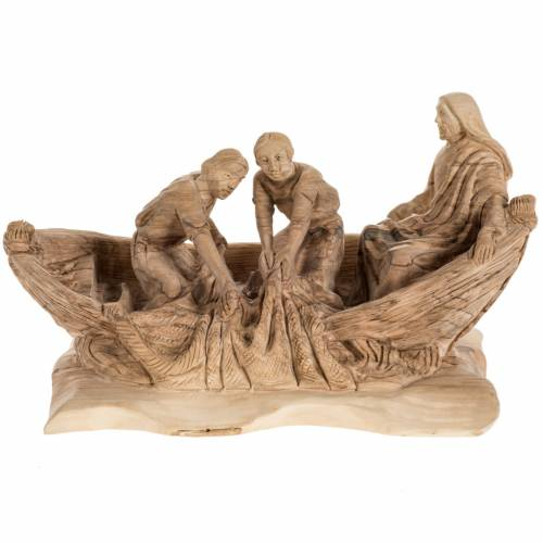 Statua Pesca Miracolosa legno olivo Terra Santa s1