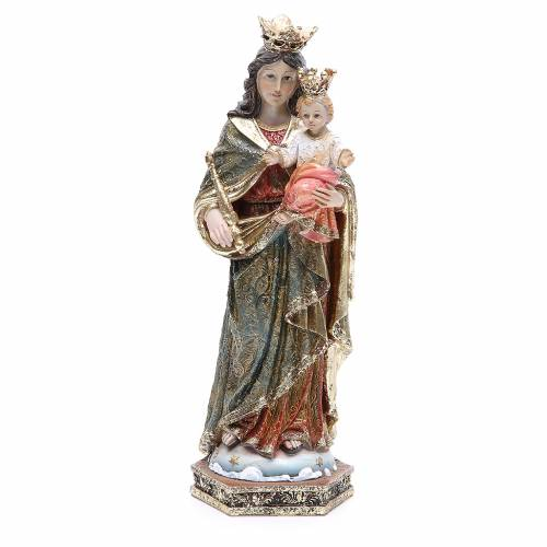 Statua resina Maria Ausiliatrice 32 cm oro s1