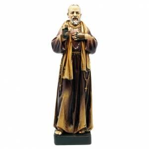 Statua San Padre Pio pasta legno colorata 15 cm s1
