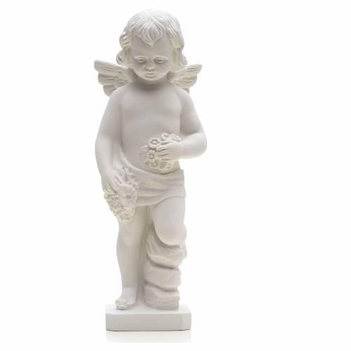Statue Ange avec fleurs marbre reconstitué s1