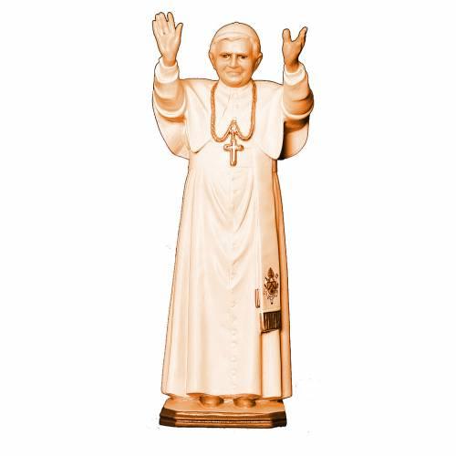 Statue de Pape Benoit XVI bois Valgardena nuances brun s1