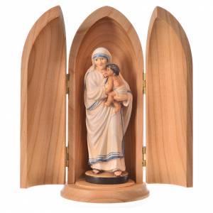 Statue Mère Teresa de Calcutta dans niche bois peint s1