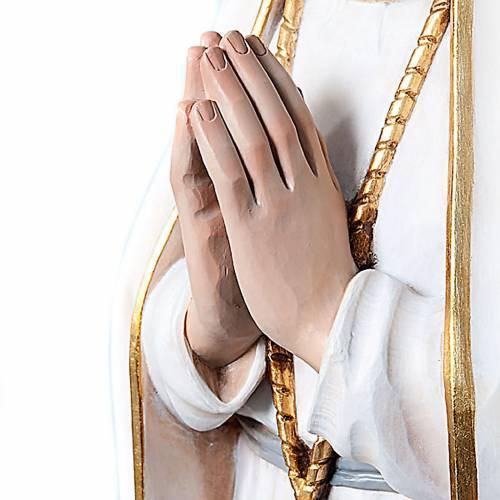 Statue Notre Dame de Fatima en bois peint yeux en cristal 120 cm s2