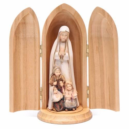 Statue Notre Dame de Fatima et 3 enfants dans niche bois peint s1