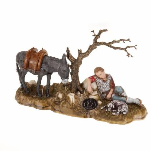 Statue presepe Moranduzzo pastore in riposo con asino 10 cm s1