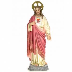 Statue Sacré-Coeur de Jésus 120 cm pâte à bois finition élégante s1