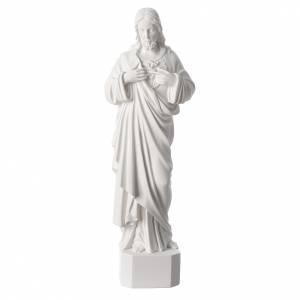 Statues en marbre reconstitué: Statue Sacré Coeur de Jésus marbre reconstitué blanc 42-45cm