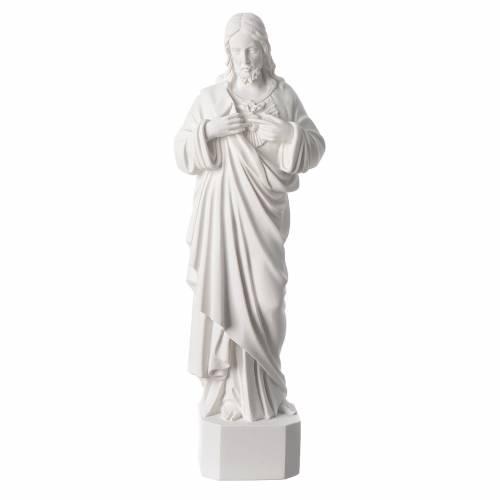 Statue Sacré Coeur de Jésus marbre reconstitué blanc 42 cm s1