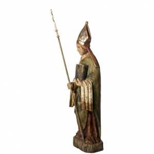Statue Saint Evêque, 95cm in painted wood, Bethléem s3