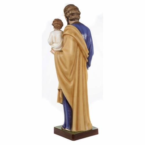 Statue Saint Joseph à l'enfant marbre 80cm peinte s7