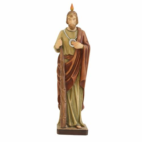 Statue Saint Jude en bois coloré manteau brun s1